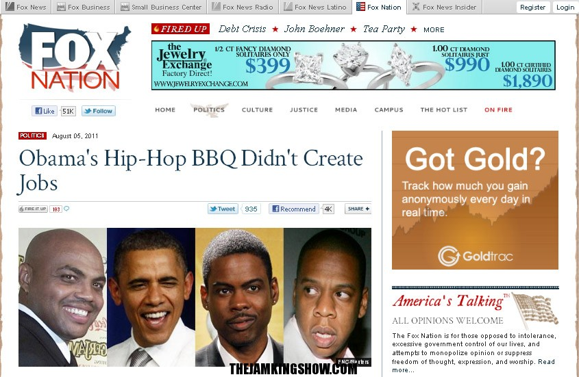 The Hate Continues: Fox News website calls Obama's birthday party a 'Hip-Hop BBQ'